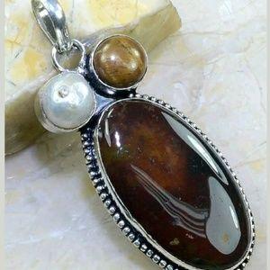 Blood Stone, Tigers Eye, & Biwa Pearl Pendant